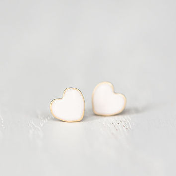 Mini Heart Post Earrings in Cream - Hypoallergenic Titanium Stud Earrings