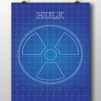 Superhero Hulk blueprint wall art, 13x19, 11x14, 8x10