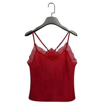 Sexy Lace Silk Satin Women Camisole Casual Red Plain Strappy Loose Femme Vest