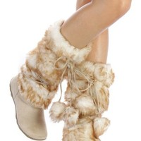 Beige Super Furry Pom-pom Winter Flat Boots Vegan