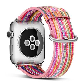 38mm 42mm Band For Apple Watch Series 1 2 3 Woven Nylon Band Strap For Couple IWatch Colorful Pattern Classic Buckle