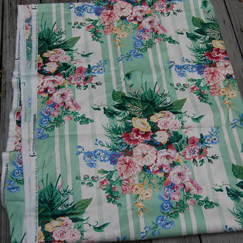 Vintage Hatfield By Waverly Cottage Shabby Chic Floral Toile Stripe Print Chintz Upholstery Fabric 4 Yds