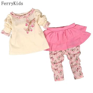 Baby Girl Clothes Set Divided Skirts  + T Shirt Long Sleeve Autumn Spring Baby Girls Clothing  Set Cotton Infant Girl Clothes