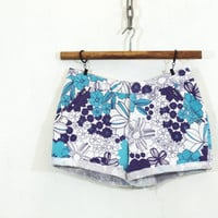 Blue Floral Upcyled Shorts S M