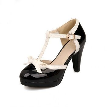 Carol Shoes Fashion T Strap Bows Womens Platform High Heel Pumps Shoes