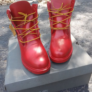 Timberland® 6' Boots Red Handpainted Art Customization and Fashion Quality Low Price Shoe Custom Mens Boys Toddler Pre School