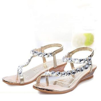 Woman Summer Sandals Flat with Flip Flop Rhinestone Flats Platform Wedges Shoes Flip F