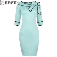 LERFEY Women Autumn Winter Dress Half Sleeve Plus Size Dresses Bow Retro Office Bussiness Bodycon Slash Neck Dress New Clothings