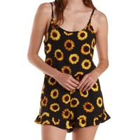 Black Combo Strappy Sunflower Print Romper by Charlotte Russe