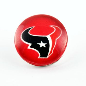 New Arrival 20pcs/lo Football Glass Houston texans Sports Ginger Snap Button Jewelry 18mm Snaps Bracelets&Bangles