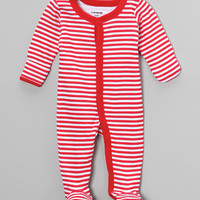Red & White Stripe Footie - Infant