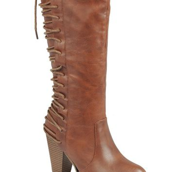 Ladies fashion knee-high boot, closed round toe, block heel, zipper closure, with lace up