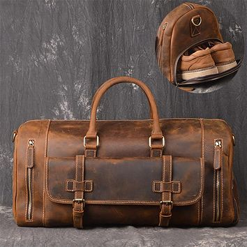 Crazy Horse Genuine Leather Travel Bag Men Vintage Travel Duffel bag big Cow Leather Carry On Luggage Weekend large shoulder Bag