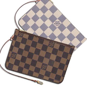 LV Wallet Louis Vuitton Women Louis Vuitton Coin purse Wrist Bag Cute Wallet B Check Coffee