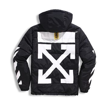OFF-WHITE Trend OW Insulated Parka Winter Thicken Coat Hooded Warm Jacket