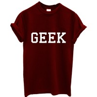 GEEK TOP TEE T SHIRT TOP 90s VTG SOLD OUT SHOP BNWT maroon burgundy white black