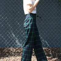 Vintage 70's Trousers- Blue & Green Plaid