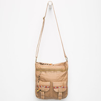 Ethnic Pocket Tote Bag Tan One Size For Women 25597241201