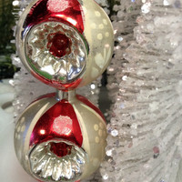 Vintage Mercury Glass Triple Indent Tree Topper in Red and Silver