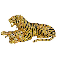 Van Cleef & Arpels Yellow Diamond Tiger Mother and Cub Brooch