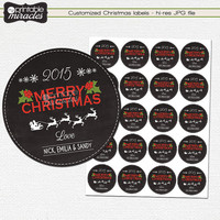 Christmas labels, Printable christmas chalkboard gift tags, Customized holiday gift tags, Digital sticker, Print your own