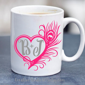 Heart Peacock Feather Monogram | Coffee Cup | Funny Coffee Mugs | SUBLIMATION Design
