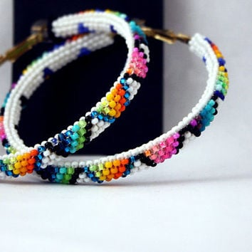 White BIG TRIANGLE Mixed Rainbow Native American Hoop Earrings