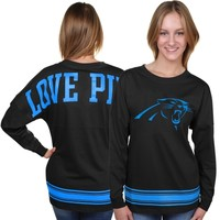 Carolina Panthers New Era Women's Varsity Strip Crew Neck Pullover Sweatshirt - Black