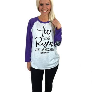 He Is Risen Raglan with Plaid Patch Sleeves