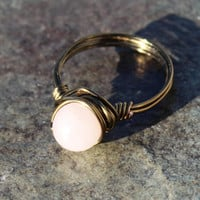 Trendy Rose Quartz Wire Wrapped Ring for Love Valentines Day Gift for Her
