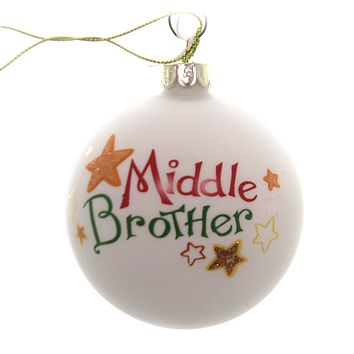 Holiday Ornaments LITTLE MIDDLE BIG SIBLING BALL Family Siblings C4890 Middle Brother