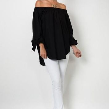 Lucy Off Shoulder Blouse - Black