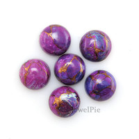 Copper Purple Turquoise Loose Gemstone Cabochon Round 12x12 AAA Grade - 6 Pcs.