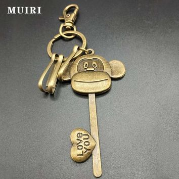 Cute Monkey Head Retro Keychain For Women Carved Simple Copper Alloy Chain Man Car Key Ring Gifts For Friends Key Chains Fashion