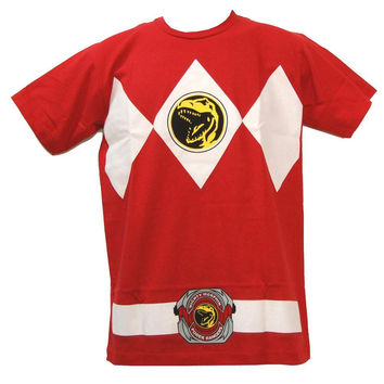Power Rangers - Red Ranger Uniform Costume Adult T-Shirt