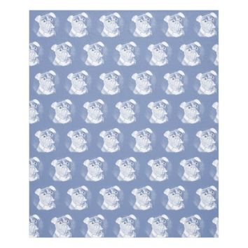 Bulldog Face White on Blue Fleece Blanket