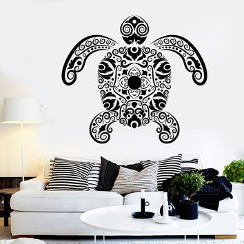 Vinyl Wall Decal Sea Turtle Animals Marine Style Stickers Unique Gift (1018ig)