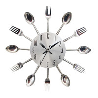 Cool Stylish Modern Spoon Fork Cutlery Utensil Vintage Design Wall Clock