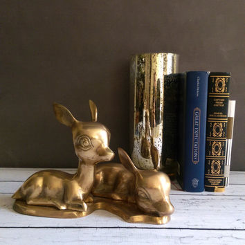 Pair of Brass Deer/ Large Brass Deer Statue/ Brass Deer/ Vintage Brass Deer/ Vintage Brass Statue