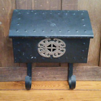 Vintage Black Mid Century Wall Mount Hanging Mail Box with Brass Accent Newspaper Holder