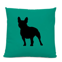 French Bulldog Silhouette Pillow - Your Choice of Color - Modern Home Decor Living Room- dog breed silhouette pillow - dog home decor