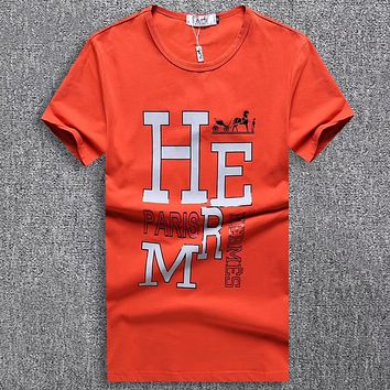 Hermes Men Fashion Casual Letter Print Shirt Top Tee