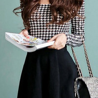 Plaid Long Sleeve Solid Skater Dress