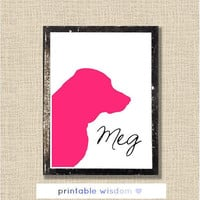 Custom Pet Silhouette portrait, personalized wall art decor poster, digital