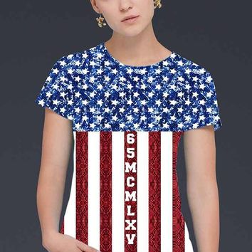 Women's American Flag Sequin Print T-Shirt