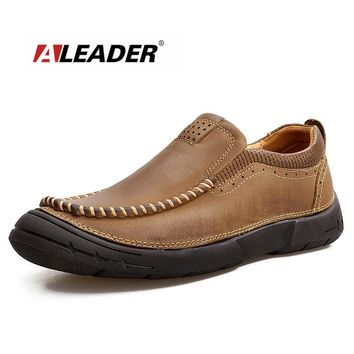 Quality Cow Leather Men Shoes Autumn Classic Oxfords Men Slip On Comfortable Loafers Casual Tooling Shoes Male Sapatos