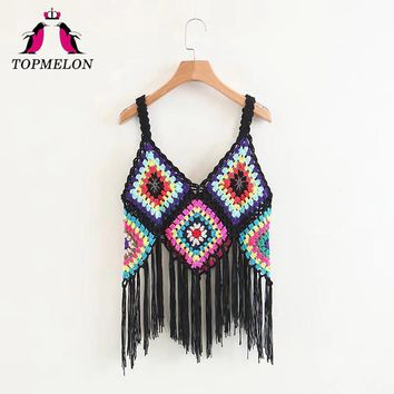 TOPMELON Swimsuit Cover Up Camis Zaful Women Spaghetti Strap Tunic Tops Knitted Tassel Top Beach Pareo Outdoor Bathing Kaftan