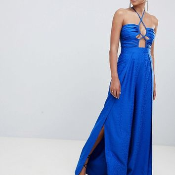 ASOS DESIGN jumpsuit with cut out detail in jaquard at asos.com