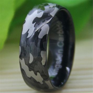 8MM Black Dome The Camo Military Engraved Men's Tungsten Carbide Mens Ring