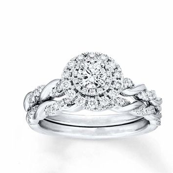 Sterling Silver 925 CZ Round Infinity Engagement Ring Wedding Band Set Sz 5-10